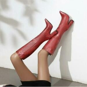 Women's Fashion PU Leather Embossed Block Heel Knee High Riding Boots Shoes