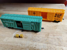 Vintage Ho Marx and A.C. Gilbert freight cars, incl. operating Nyc box car