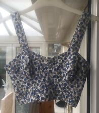 Topshop Blue White Floral Ditsy Crop Top Bralet Button Up Size 6