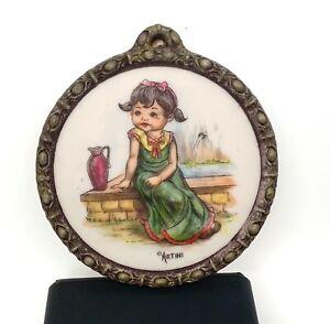 Vintage ARTINI Sculptured ENGRAVING WALL ART Decor 4D Painted SITTING GIRL Frame
