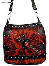 DARK STAR BLACK AND RED BROCADE GOTHIC PVC CROSS PURSE