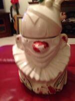 1940's MCCOY Original  Cookie Jar Clown Cold Painted pottery White