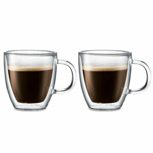 NEW Bodum Bistro Double-Walled Espresso 5oz Mug Set 2pc 10602