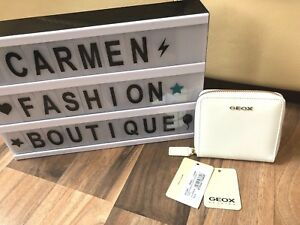 AUTHENTIC BNWT GEOX WHITE PATENT LEATHER PURSE BEIGE INTERIOR