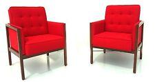 mid century danish modern pair walnut arm chairs restored Knoll Style
