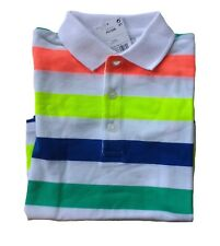 NEW Next Boys Bright Stripe Polo T Shirt Age 2 3 Years Colourful Stripy Top BNWT