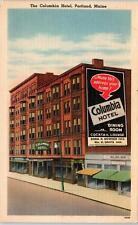 PORTLAND, ME Maine   The COLUMBIA HOTEL   c1940s   Roadside  Linen   Postcard