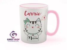 Cute cat coffee mug, custom with a name, GIFT IDEAS,  Birthday gift, cat lovers