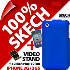 New Skech Hard Rubber Case For Apple Iphone 3G 3GS +Video Stand+Screen Protector