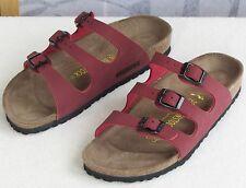 38 US-7.5 | Birkenstock Florida Red Birko-Flor Women Open Toe Slide Sandal Shoe