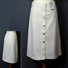 New M&S Button Front A-LINE DENIM SKIRT ~ Size 10 ~ ECRU / CREAM