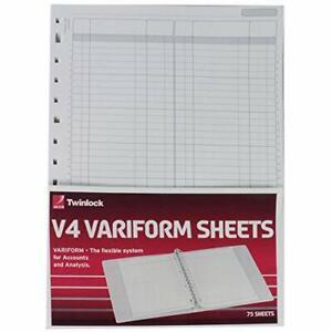 Rexel Twinlock Variform V4 Refill Sheets Double Ledger Pack of 75 - White