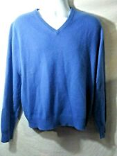 Grant Thomas Sweater Two Ply Cashmere Blue V Neck Size Medium