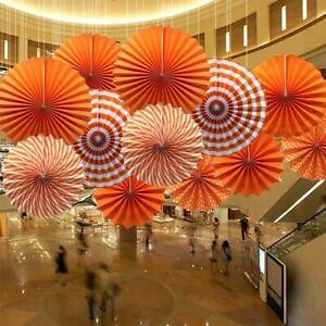 6x Orange Tissue Paper Fan Flowers Wedding Decoration Birthday Party Table Decor