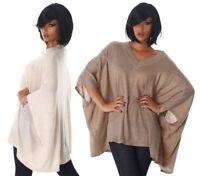 Maglia donna pull maglione maniche pipistrello scollo a V manica larga casual