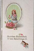 15193 AK Dackel Hund mit Rose im Maul Mädchen Geburtstag um 1915  PC dachshund