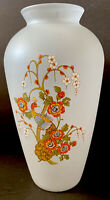 Vntg Frosted Glass Italian Pottery Hand Painted Peacock Bird Vase/ Pot  Italy