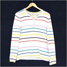 Heyton Sweater Top Women's M 12/38 Cotton Long Sleeve Striped 3/4 Button V-neck