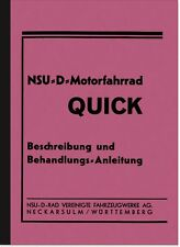 NSU NSU-D Quick 1937 Bedienungsanleitung Betriebsanleitung Handbuch Motorfahrrad