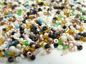 Vintage CZECH GLASS Rocaille Seed Beads ASSORTED COLORS, 1mm -2mm, 20gr = 0.7oz.
