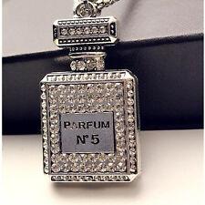 Perfume Bottle Pendant Necklace For Women Rhinestones Jewelry Chain Decor Pip