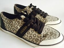 New GUESS Women's Sneakers Size 9.5 Brown Beige GG Logo Canvas Laces Flats Shoes