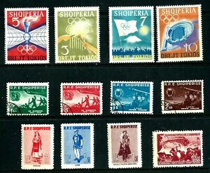 Stamps - ALBANIA  12 Mint and Cancelled Hinged Stamps