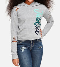 75% OFF! AUTH JUSTICE GIRLS LOGO SLASH SLEEVE HOODIE GREY MEDIUM /10 BNEW $19.90
