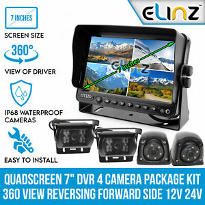 "Quadscreen 7"" DVR 4 Camera Package Kit 360 View Reversing Forward Side 12V 24V"