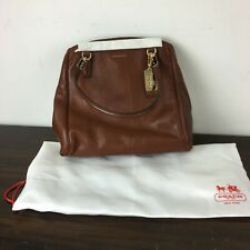 NWT Coach Chestnut Madison Minetta 27862 Leather Satchel Crossbody w/ Dust Bag