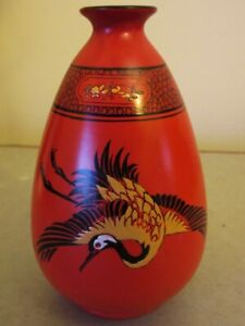 ANTIQUE ENGLISH SHELLEY ORANGE VASE WITH FLYING CRANE.