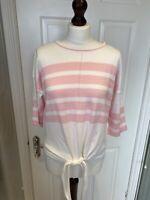 M&S White & Pale Pink Stripe Cotton Soft Knit Jumper w Tie Waist - Size S / 10