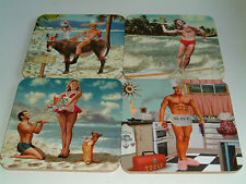 Set of 4 Novelty/Retro/Vintage Coasters 100mm Square