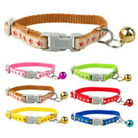 3pcs Cute Paw Print Nylon Cat Kitten Dog Collars with Bell Pink Blue Red Green