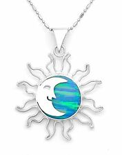 Sterling Silver Blue Opal Sun Moon Pendant from Taxco Mexico