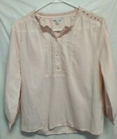 Lucky Brand Pale Pink Eyelet Sleeves Peasant Tunic Blouse Woman's  XS