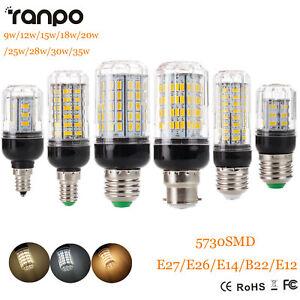 E27 E14 E12 E26 B22 9 - 35W 5730 SMD LED Corn Bulb Light Bright 110V 220V DC 12V