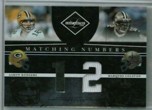 2008 Leaf Limited Aaron Rodgers Marques Colston Matching Numbers Jersey /100