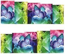 NAIL ART ADESIVI ad acqua trasferimento adesivi luminosi FARFALLE FUMO (db177)