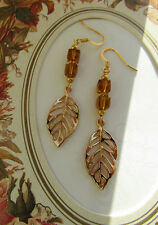DROP EARRINGS FILIGREE LEAVES - TOPAZ BEADS