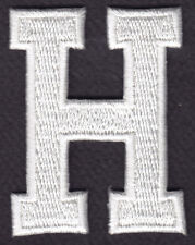 "LETTERS - WHITE BLOCK LETTER ""H"" (1 7/8"") - Iron On Embroidered Applique Patch"