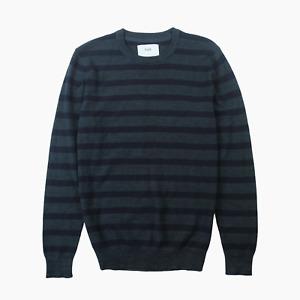 Folk Cupid Jacquard Stripe Mens Knit Crew Jumper 4 L Large Navy Sweater BNWT New