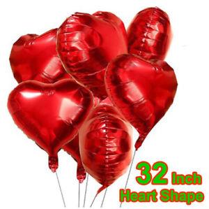 "32"" inch BIG LOVE HEART FOIL BALLOON. WEDDING VALENTINES BIRTHDAY PARTY BALOON"
