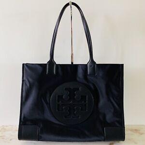TORY BURCH Solid Black Ella Large Nylon Tote Bag Large Logo