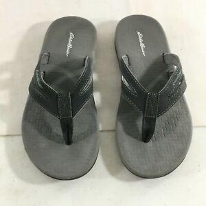 Eddie Bauer Womens Black Open Toe Slip On Thong Flip Flop Sandals Size 10.5