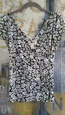 White Black House Market Dressy short sleeve Shirt flower Top Crossover S sm