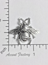 34464 Large Honey Bee Jewelry Finding Matte Silver Oxidized