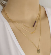 Simulated Amethyst Gold Disc Necklace