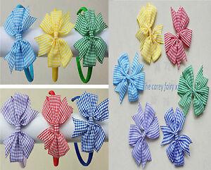 girls school hair bow bobbles clips alicebands headband hair tie gingham plaid