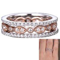 3 Piece Set Ring Set Fashion Lady Full Set Zircon Ring Trend Section Rose Go 4H4